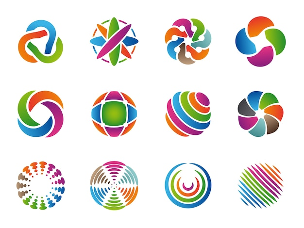 Globales abstraktes logo. farbige geschäftskreise runde identität formt vektorsammlung. branding kugel kugel vorlage, bunte grafik ungewöhnliche illustration