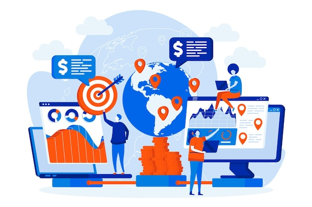Globales business-webdesign mit personencharakteren