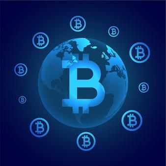 Globales konzept der digitalen bitcoin-währung, das die erde umgibt