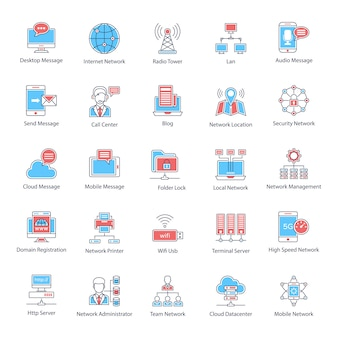 Globales netzwerk flat icons pack