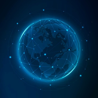 Globales netzwerk futuristische technologie