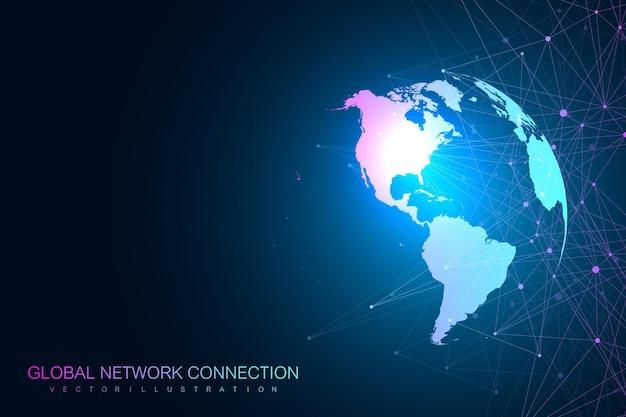 Globales netzwerk mit weltkartenillustration