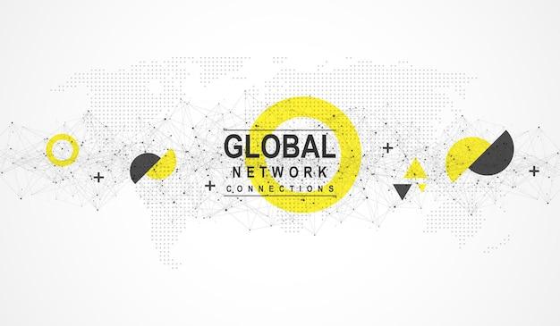 Globales netzwerkverbindungskonzept. big-data-visualisierung. kommunikation über soziale netzwerke in den weltweiten computernetzen. internet technologie. unternehmen. wissenschaft. vektor-illustration