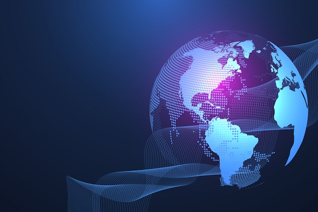 Globales netzwerkverbindungskonzept. big data visualisierung. soziale netzwerkkommunikation in den globalen computernetzwerken. internet technologie. geschäft. wissenschaft. illustration