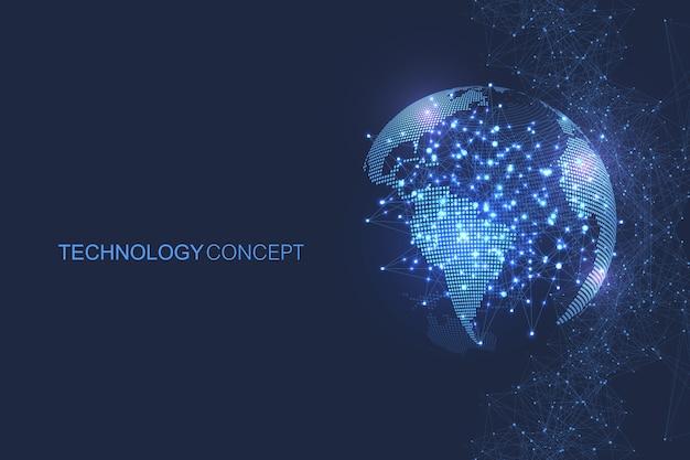Globales netzwerkverbindungskonzept. big data-visualisierung. soziale netzwerkkommunikation in den globalen computernetzwerken.
