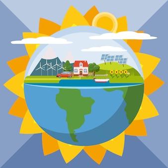 Globales ökologiekonzept der sonnenblume, karikaturart