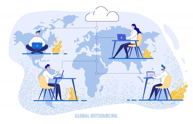 Globales outsourcing, menschen mit cloud-system
