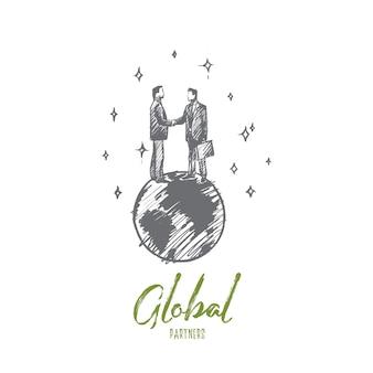 Globales partnerkonzept. hand gezeichnete geschäftsleute, die hände stehen, die auf der isolierten illustration der erde stehen.