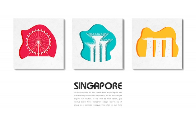 Globales reise- und reisepapier des singapur-marksteins mit textschablone