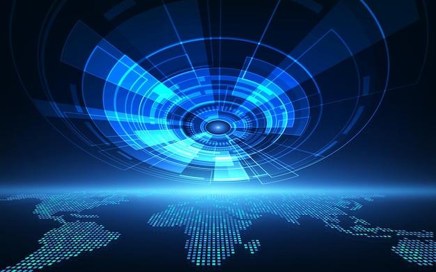 Globales system der abstrakten futuristischen leiterplatte des vektors, blaues farbkonzept der hohen digitalen technologie der illustration