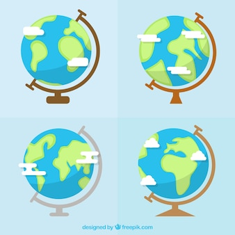 Globes in flachem design