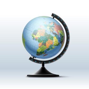 Globus des planeten erde mit politischer weltkarte. auf weißem hintergrund isoliert