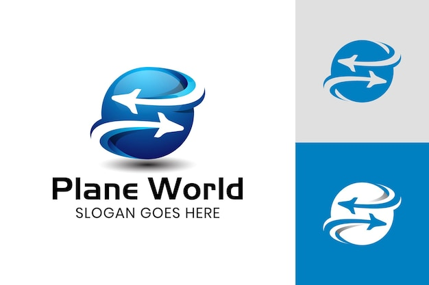Globus formt die welt mit flugzeug-icon-design für geschäftsreisende und reisebüro-logo-vorlage