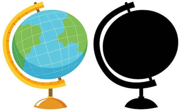 Globus in farbe und silhouette