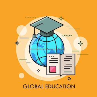 Globus mit abschlusskappe und geöffnetem buch. modernes konzept der globalen bildung.