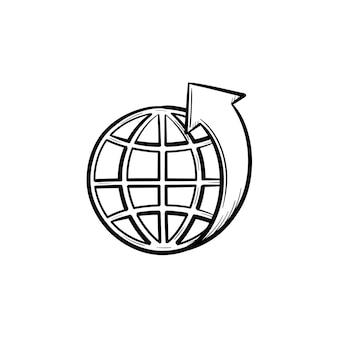 Globus mit breiten handgezeichneten umriss doodle-symbol. ökosystem-konzept. vektorskizzenillustration der weltkugel für druck, netz, handy und infografiken lokalisiert auf weißem hintergrund.