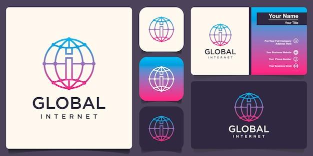 Globus mit i-logo-vektor-logo-design-vorlage.