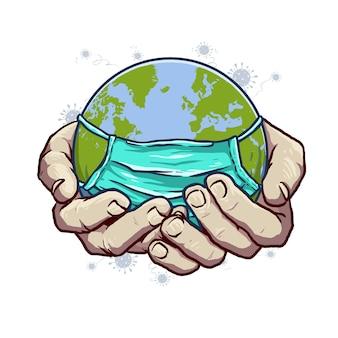 Globus mit masker-griff zur hand, um das corona-virus zu erkennen