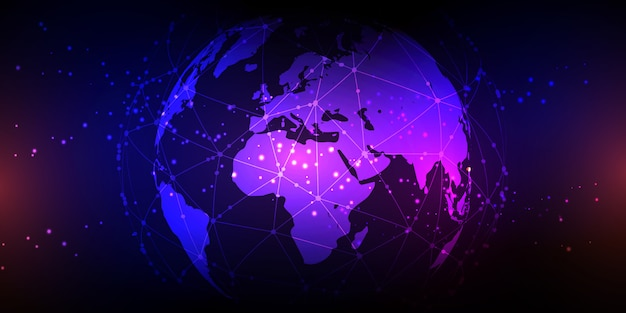Globus mit netzwerkkommunikationsbanner
