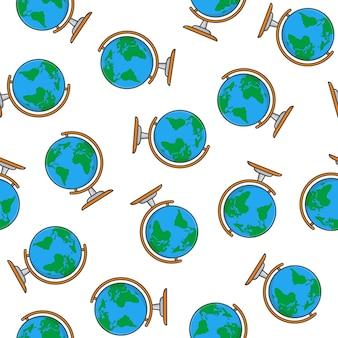 Globus nahtloses muster auf einem weißen hintergrund. weltkarte symbol vektor illustration