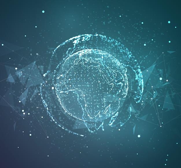 Globus, planet erde, aus punkten. konzept bigdata, verarbeitung und datenerhebung