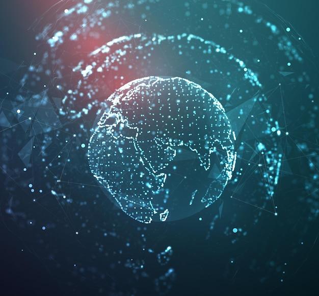 Globus, planet erde, aus punkten