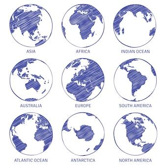 Globus-skizze. handgezeichneter globus der welt der welt, kontinente des kontinents der ozeane des erdkreiskonzepts konturieren landskizzen
