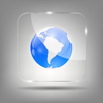 Globus-symbol auf kristall