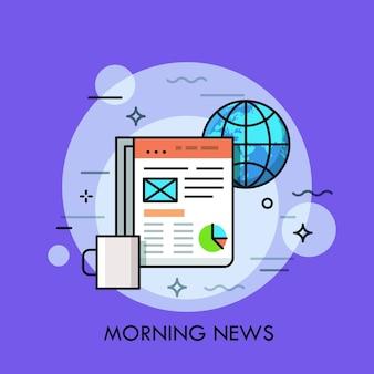 Globus, tasse kaffee und elektronische zeitung auf dem tablet-bildschirm angezeigt. morgennachrichten, online-publikationskonzept