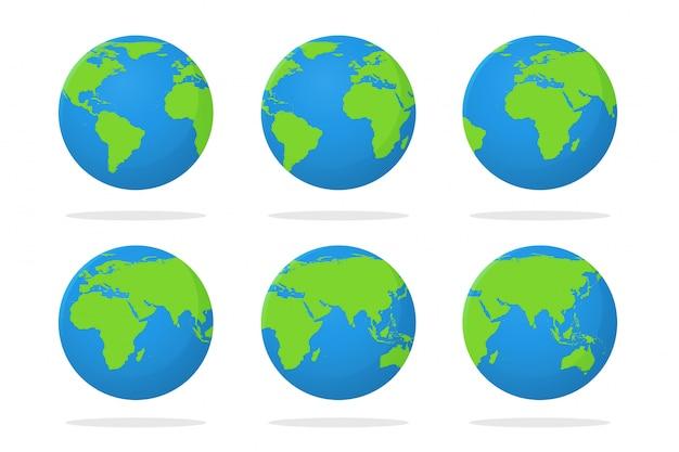 Globus und eine flache weltkarte, die sich durch drehen bewegt. auf weißem hintergrund isolieren.