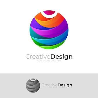 Globuslogo mit buntem design, erdsymbole