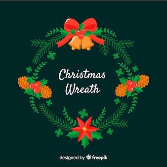 Glocken und kiefernzapfen weihnachtskranz