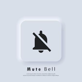 Glockensymbol stumm schalten. alarm aus, glockensymbol. benachrichtigungsglockensymbol für eingehende posteingangsnachrichten. klingelton für wecker und smartphone-anwendungswarnung. vektor-eps 10. ui-symbol. neumorphe ui-ux