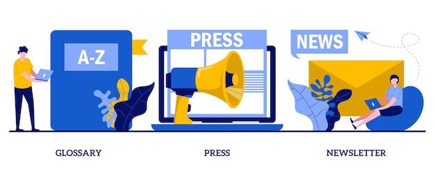 Glossar, presse, newsletter-konzept. set von massenmedien, online-abonnement für tägliche nachrichtenmagazine.