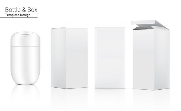 Glosssy bottle realistic cosmetic und 3-dimensionale box zum aufhellen von hautpflege- und alterungsschutzmitteln gegen falten auf weißer hintergrundillustration. gesundheitswesen und medizin.