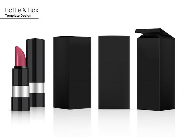 Glosssy metallic lipstick tube blank realistische kosmetik- und 3d-box für make-up-hautpflege.