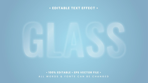 Glossy clear glass 3d-text-stil-effekt. bearbeitbarer illustrator-textstil.