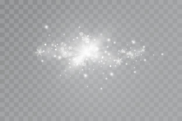 Glow-effekt. ein blitz aus weihnachtsstaub, funkelndes bokeh.