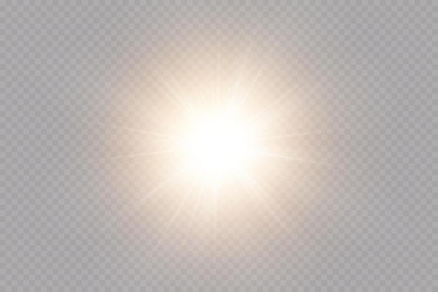 Glow-effekt. stern auf transparentem hintergrund. helle sonne.