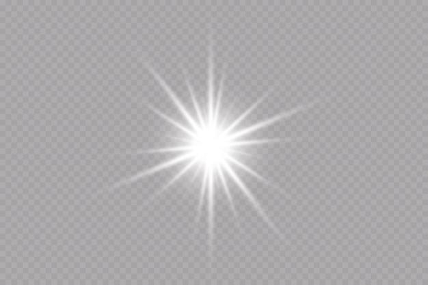 Glow-effekt-stern auf transparentem hintergrundhelle sonne vektor-illustration