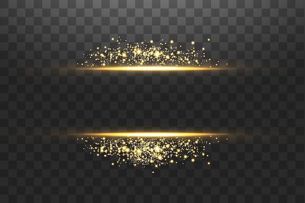 Glow gold transparente glitzerlinie.