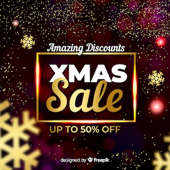Glowing christmas sale banner