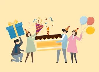 Glückliche Menschen, die eine Geburtstagsillustration feiern