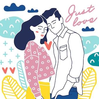 Glückliche Paare und Liebeselemente.