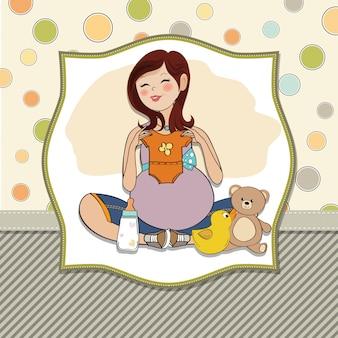 Glückliche schwangere Frau, Babypartykarte