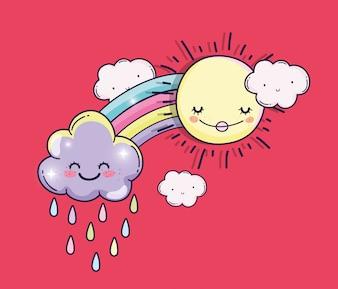 Glückliche Sonne mit Regenbogen und niedlichen Wolken