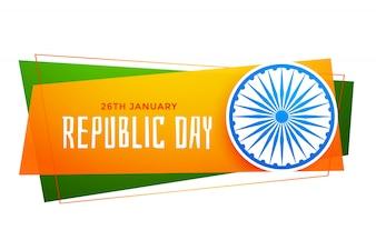 Glückliche Tag der Republik Indien Banner in Tricolor