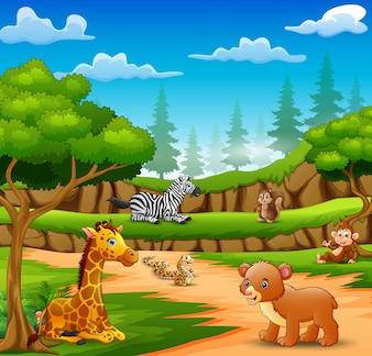 Glückliche Tierkarikatur auf der Naturszene