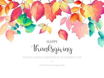Glücklicher Danksagungs-Hintergrund mit Herbstlaub