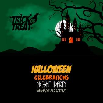 Glücklicher Halloween-Einladungsfahnen-Designvektor